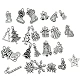 Souarts Mixed Antique Silver Color Christmas Tree Jingle Bell Stocking Candy Cane Charm Pendants Pack of 24