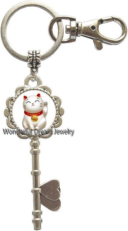 Llavero con diseño de gato de la suerte de Neko Maneki de plata ...