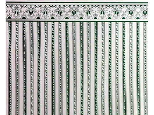 Melody Jane Dolls Houses House Miniature Print 1:12 Scale Green White Regency Stripe Wallpaper (Large Scale Stripe Wallpaper)