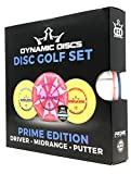 Dynamic Discs Prime Burst Disc Golf Starter Set - Distance Driver, Midrange Driver and Putter All in Prime Plastic with Extra Grip for Beginners