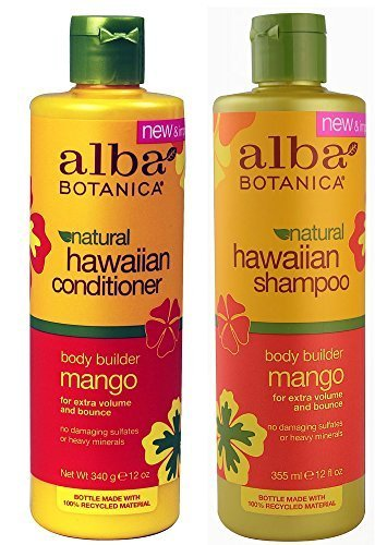 Alba Botanical Shampoo - Alba Botanica, natural Hawaiian Shampoo and Conditioner, Mango, 12-Ounce Bottle