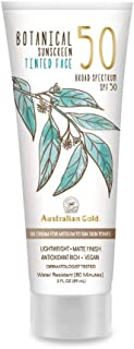 product image for Australian Gold Botanical Sunscreen Tinted Face BB Cream SPF 50, 3 Ounce | Medium-Tan | Broad Spectrum | Water Resistant | Vegan | Antioxidant Rich