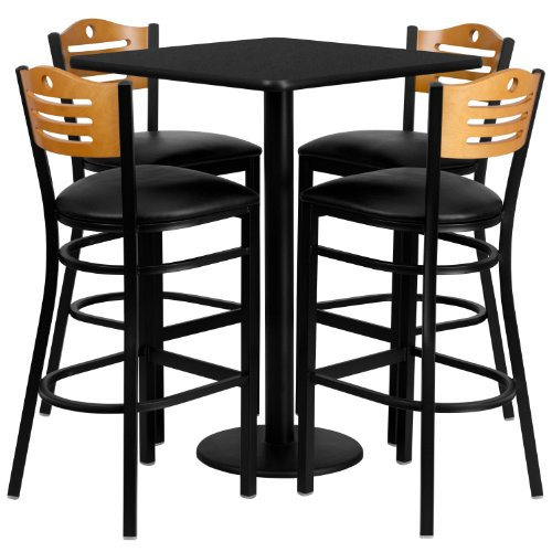 Flash Furniture 30'' Square Black Laminate Table Set with 4 Wood Slat Back Metal Barstools - Black Vinyl Seat