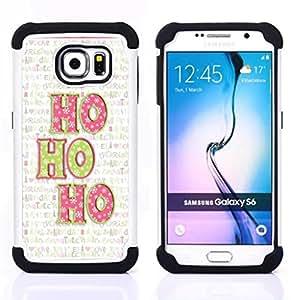 """Samsung Galaxy S6 / SM-G920 - 3 en 1 impreso colorido de Altas Prestaciones PC Funda chaqueta Negro cubierta gel silicona suave (Navidad del día de fiesta de invierno Texto"""")"""