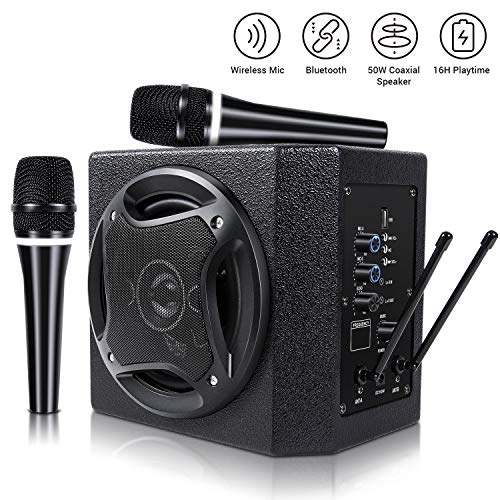 TONOR PA System Karaoke Machine with 50W Bluetooth Speaker Wireless Microphones Handheld for Family Party, Indoor Meeting, Classroom Use, Public Speaking and Small Stage Performance