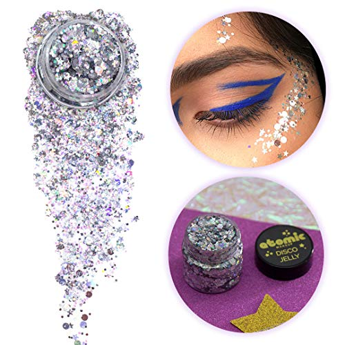 ATOMIC MAKEUP Body Glitter - Vegan & Cruelty Free - The Tunnel (Silver) - Glitter for Face, Hair, Festivals, Raves, Costumes ()