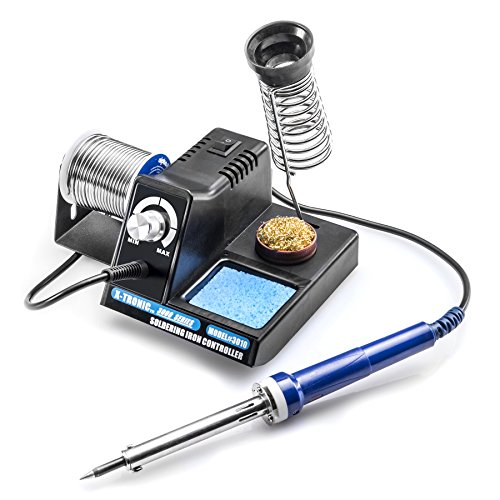 X-TRONIC 3000 SERIES - MODEL #3010-XTS VARIABLE POWER 70 WATT SOLDERING STATION WITH EXTRA HEATING ELEMENT AND SPONGE, BRASS SOLDERING TIP CLEANER INCLUDED WITH A SUPPLY OF FLUX IN THE BOTTOM OF THE...