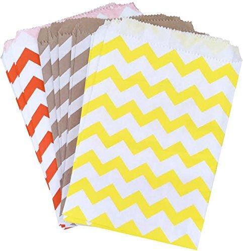 Outside the Box Papers Fall Theme Chevron Treat Sacks 5.5 x 7.5 48 Pack Kraft Brown, Yellow, Orange (Fall Treats)