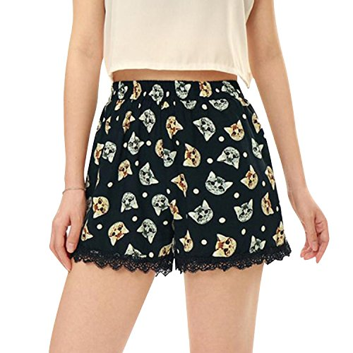 Martine Mall Beach Shorts Beach Summer Shorts Pom Pom Shorts Ball Tassel Shorts Tassel Hot Pants Floral Mini Shorts (Large/US 6-8, Cat Prints)