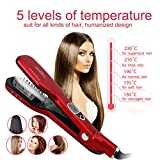 Best Steam Ion 3D Ceramic Hair Straightener,Professional Salon Dual Voltag Wet Hair Iron Straightening Brush Products, Travel Kit Wide Hair Straightener Comb for All Women Hair (Red)