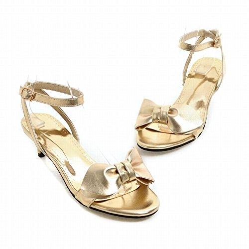 Mee Shoes Damen Kitten-heel Schleife slingback Sandalen Gold