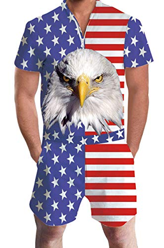 American Flag Overalls Jumpsuit for Men Male 3D Animal Printed Bird USA Patriots Navy Blue Stars and Stripes Hipster Retro Rompers 80s Boys Short Sleeve Zipper Hawaiian Beach Tracksuits Pants L