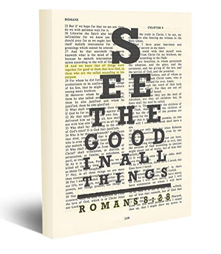 See the Good in All things – All things work together for Good – Romans 8:28 -Vintage Bible page verse scripture – Christian wrapped art CANVAS, eye chart dictionary wall & home decor