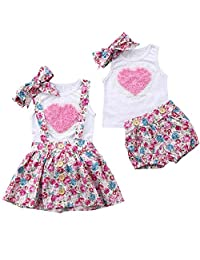 Puseky Baby Girls Big Little Sister Matching Heart Vest + Headband + Floral Suspender Skirt Summer Outfits (Color : White, Size : Big Sister-4Y-5Y)