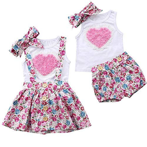 puseky Baby Girls Big Little Sister Matching Heart Vest + Headband + Floral Suspender Skirt Summer Outfits (Color : White, Size : Big Sister-2Y-3Y)