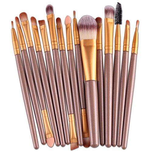 Eyebrow Shadow (Sunsee 15 pcs/Sets Eye Shadow Foundation Eyebrow Lip Brush Makeup Brushes Tool (Gold))