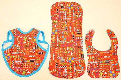 Hawaiian Bib Set (Bib, Bapron and Burp Cloth) - Little Hawaiian Characters in Red (S) by Baby Jolie's Closet