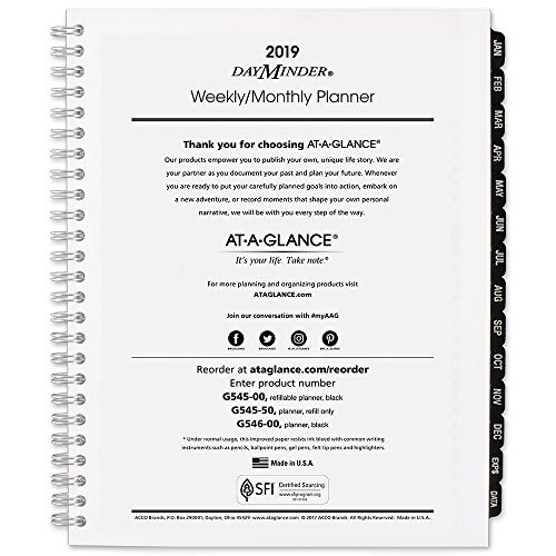 - AT-A-GLANCE 2019 Weekly & Monthly Planner Refill, DayMinder, 7