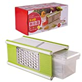 Multifunctional 5 in 1 Grater Hand-held Mandoline Slicer Kitchen Shredded Device Shredder Planer with A Tray Peeler Handle Safety Holder for Vegetables