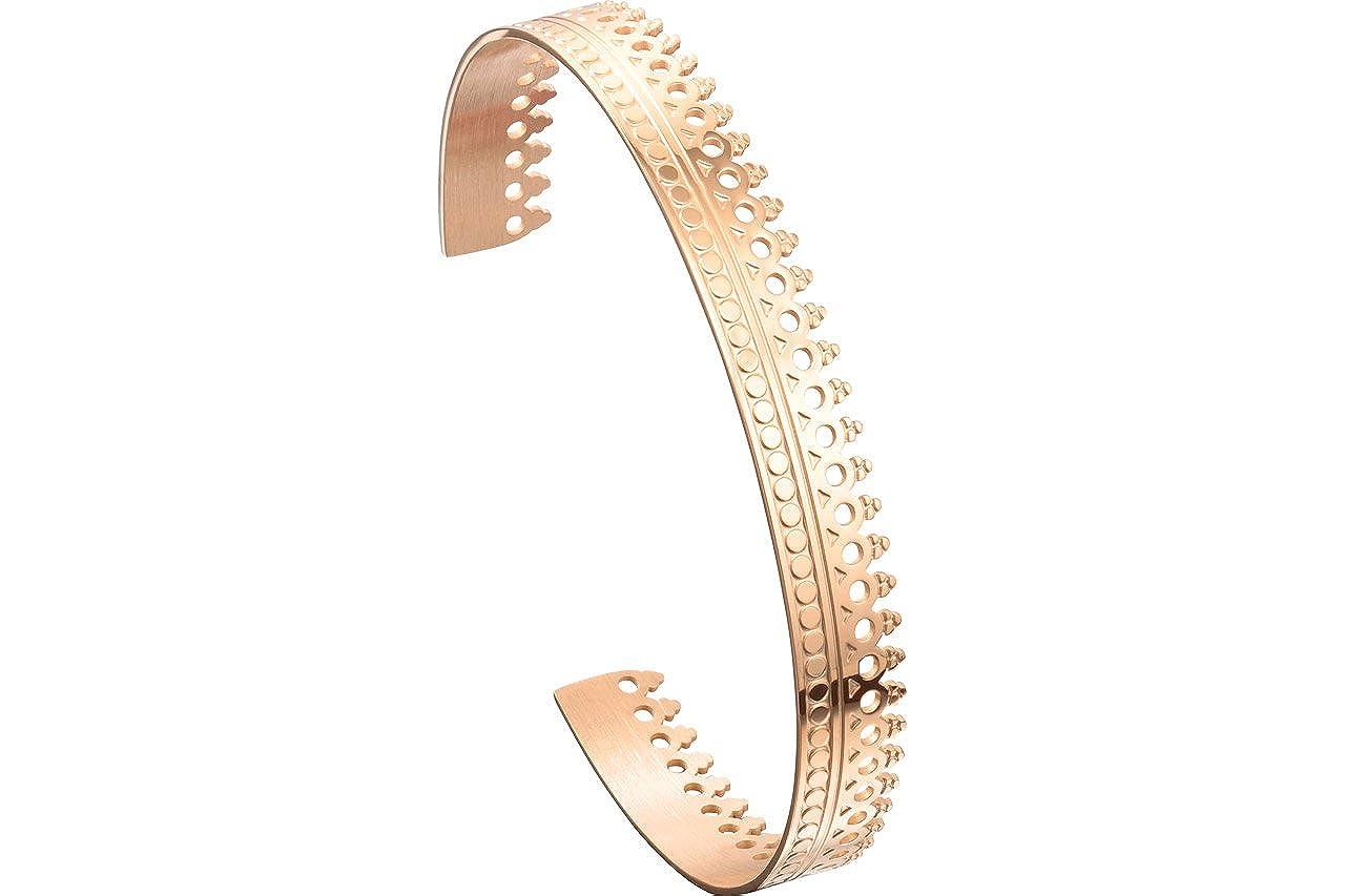 Zag Bijoux Bracelet jonc couronné, dorure Or Rose, Ø60mm