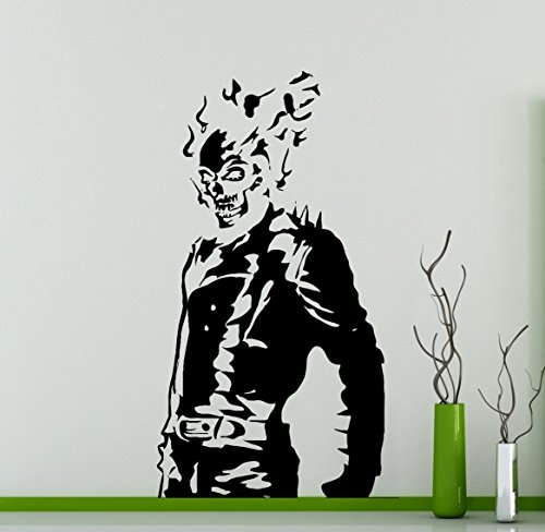 Flaming Skull Skeleton Wall Decal Ghost Rider Vinyl Sticker Comics Supernatural Antiheroes Hero Home Interior Murals 6(grd)