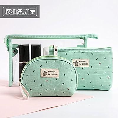 LULANDes gens paresseux make-up Package 3 pièces rose belle trousse d'admission simple main-inclus les petits ,26*16*6cm + 20*15*4cm + 14*12*6cm, vert d'eau.