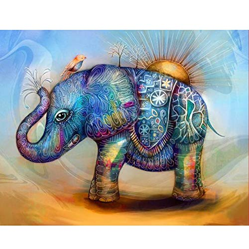 5D Diamond Painting Rhinestone Painted Elephant Pattern Little Bird Embroidery Wallpaper DIY Cross Stitch Kit Crystal Full Drill Drawing for Adult Tools Home Decoration 30X25CM