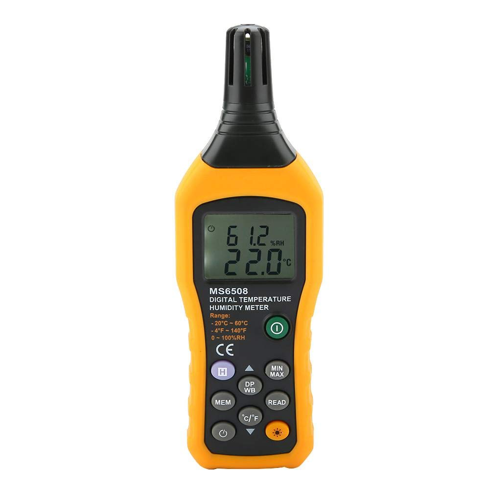 PEAKMETER MS6508 Digital Temperature and Humidity Meter with Dew Point and Wet Bulb Temperature Hygrometer - 99 Record Storage Capacity