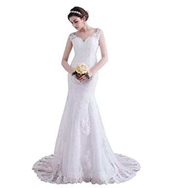 7600309fecf Image Unavailable. Image not available for. Colour  Lilis Women s Sexy  Sweetheart Mermaid Wedding Dress Lace Appliques Transparent ...