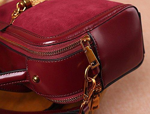 Hembra de cuero bolsa de cuero VINTAGE HANDBAG doble cara/Willow nail solo hombro bolsa cuadrada pequeña transversal oblicua,rojo Rojo