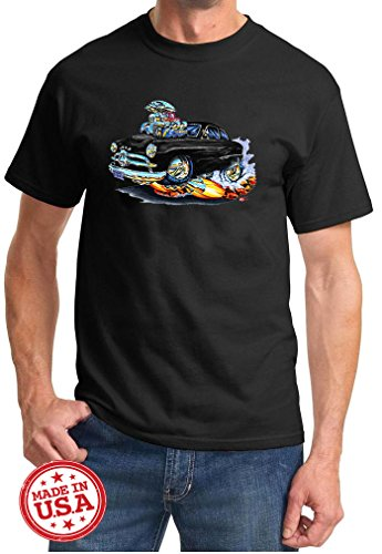 Maddmax Car Art 1949 1950 Ford Coupe Cartoon Muscle Car Design Tshirt Large Black
