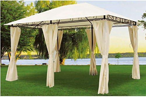 Pratiko - Cenador de metal con cortinas laterales: Amazon.es: Jardín