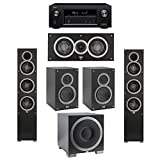 Elac 5.1 System with 2 Debut F5 Floorstanding Speakers, 1 Debut C5 Center Speaker, 2 Debut B5 Bookshelf Speakers, 1 Debut S12EQ Subwoofer, 1 Denon AVR-X2300W A/V Receiver