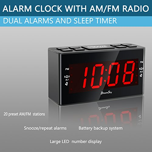 DreamSky Dual Alarms Clock Radio With AM/FM Radio And ...