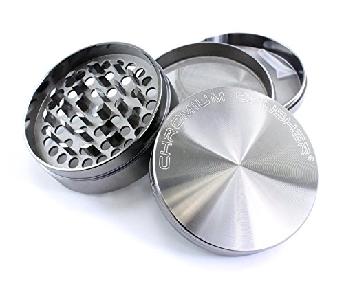 - Chromium Crusher 3 Inch 4 Piece Tobacco Spice Herb Grinder - Gun Metal