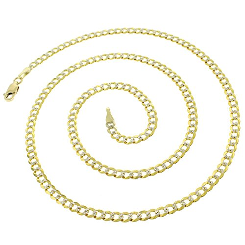 14k Yellow Gold 3.5mm Solid Cuban Curb Link Diamond Cut Two-Tone Pave Necklace Chain 20'' - 24'' (22) by In Style Designz (Image #1)
