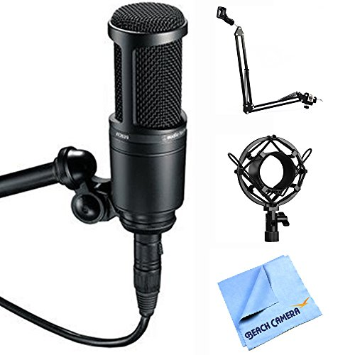 Audio-Technica AT2020 Condenser Studio Microphone with Microphone Suspension With Boom Scissor Arm, Metal Microphone Shock Mount + More (Basic Package)