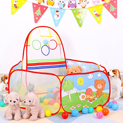 SpringBuds Kids Ball Pit Tent Pool Portable Indoor Outdoor Children Ball Pit with Basketball Hoop and Zippered Storage Bag for Toddlers