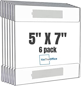 """1InTheOffice Acrylic Wall Mounted Sign Holder 5x7 with Adhesive Tape, Wall Sign Holder 5 x 7 Horizontal""""6 Pack"""""""