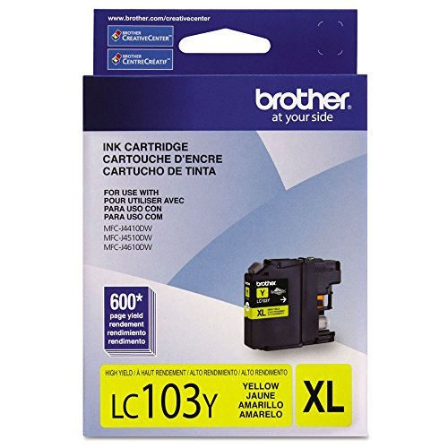 Brother Lc103Y, Lc-103Y, Innobella High-Yield Ink, 600 Page-Yield, Yellow, Case of 2