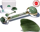 Facial Tissue Weight - Premium Jade Roller & Gua Sha Set Tool | 100% Real Jade stone | Anti Aging Skin Care Tools Therapy | Jade Facial Roller | Depuffing Eyes Bag Chi Roller Treatment | Facial Beauty tool by Green Lotus