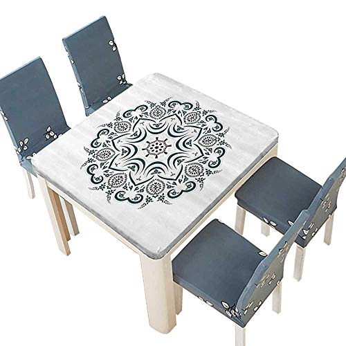 PINAFORE Polyester Tablecloths Authentic Titan Temple Figured Stylized Celestial Around Unifying Centre for Indoor and Outdoor Use 61 x 61 INCH (Elastic Edge)
