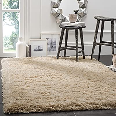 Safavieh Polar Shag Collection PSG800A Light Beige Area Rug, 3' x 5' - Safavieh's gorgeous silky Polar Shag rug collection Fashionably versatile, this rug works in the bedroom, living room, foyer, dining room, nursery, or home office Refined power-loomed construction and enhanced silky polyester fibers ensure an easy-care rug - living-room-soft-furnishings, living-room, area-rugs - 51prYMjm4OL. SS400  -