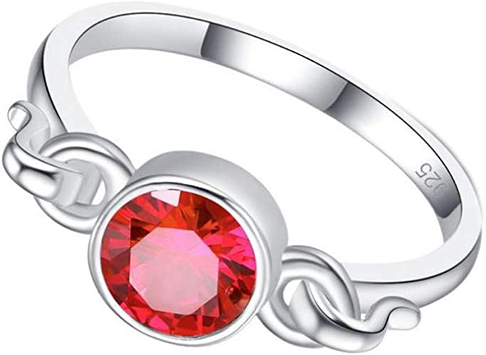 SumBonum 925 Sterling Silver Created Red Ruby Filled Butterfly Engagement Rings for Women,Size 5-11