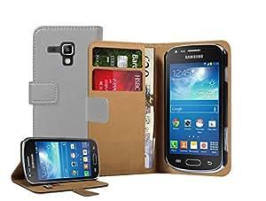 Membrane - Gris Cartera Funda Carcasa para Samsung Galaxy Trend Plus (GT-S7580 / Galaxy S Duos 2 GT-S7582) - Wallet Case Cover