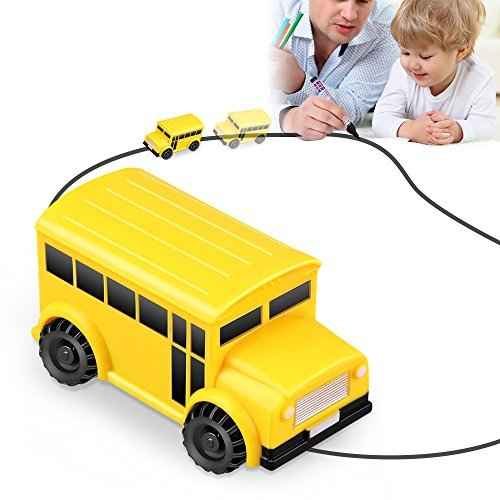Huibudch Magic Inductive Truck Line Car Toy Cars Magic Mini Car Birthday Toy Gift [Follows Black Line] for Kids (School Bus)