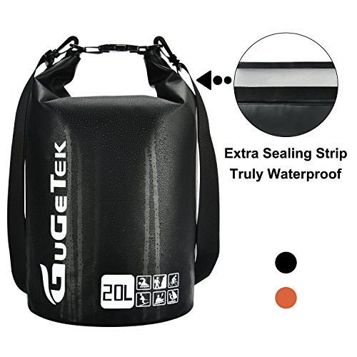 Waterproof Dry Bag GuGeTek 10L 20L Floating Roll Top Dry Compression Sack Backpack Can Be Submerged into Water for Kayaking Beach Camping Hiking Fishing Skiing and Other Water Sports (Black, 20L)