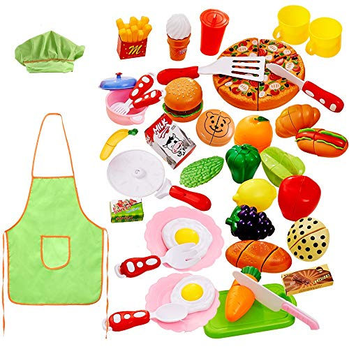 - Cutting Play Food Set for Kids 40 Pcs Pretend Food Playset Kitchen Cooking Sets Toys Fake Plastic Foods for Educational Learning for Toddlers Kids Girls Boys Inspiring Imagination with Apron and Hat