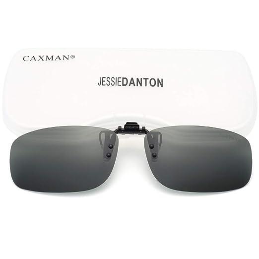 cc6827f90f71 CAXMAN Polarized Clip On Sunglasses Over Prescription Glasses for Men Women  UV Protection Flip Up Green