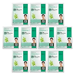 DERMAL Green Tea Collagen Essence Facial Mask Sheet 23g Pack of 10